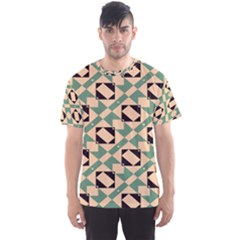 Brown Green Rectangles Pattern Men s Sport Mesh Tee