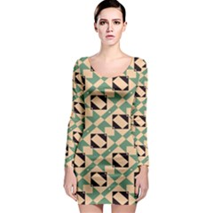 Brown green rectangles pattern Long Sleeve Bodycon Dress