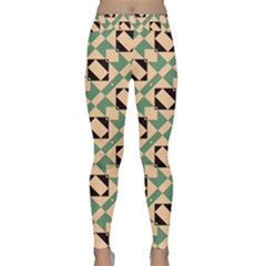 Brown green rectangles pattern Yoga Leggings