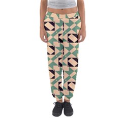 Brown Green Rectangles Pattern Women s Jogger Sweatpants