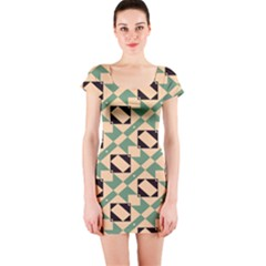 Brown green rectangles pattern Short sleeve Bodycon dress