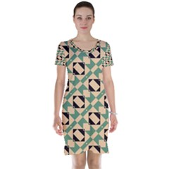 Brown Green Rectangles Pattern Short Sleeve Nightdress