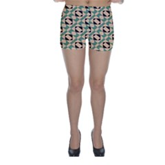 Brown green rectangles pattern Skinny Shorts
