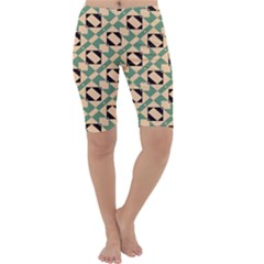 Brown Green Rectangles Pattern Cropped Leggings
