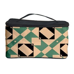 Brown green rectangles pattern Cosmetic Storage Case