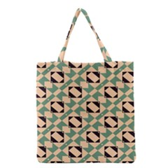 Brown Green Rectangles Pattern Grocery Tote Bag