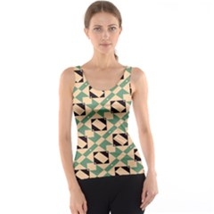 Brown Green Rectangles Pattern Tank Top