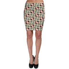 Brown Green Rectangles Pattern Bodycon Skirt