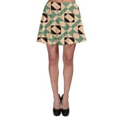 Brown green rectangles pattern Skater Skirt