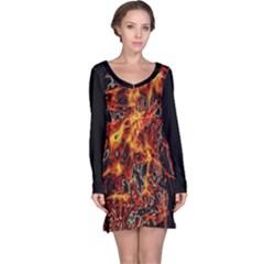On Fire Print Long Sleeve Nightdress