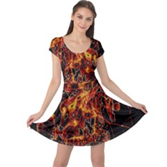 On Fire Print Cap Sleeve Dress