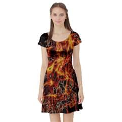 On Fire Print Short Sleeve Skater Dress