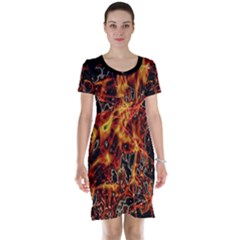 On Fire Print Short Sleeve Nightdress