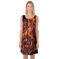 On Fire Print Sleeveless Satin Nightdress
