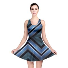 Geometric Stripes Print Reversible Skater Dress