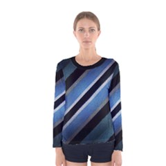 Geometric Stripes Print Long Sleeve T-shirt (Women)