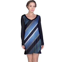 Geometric Stripes Print Long Sleeve Nightdress