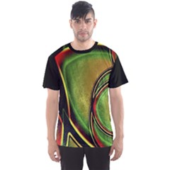 Multicolored Abstract Print Men s Sport Mesh Tee