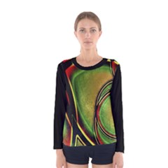 Multicolored Abstract Print Long Sleeve T-shirt (Women)