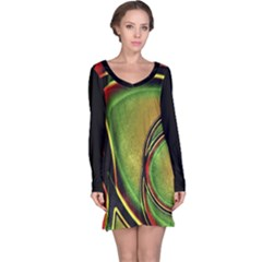 Multicolored Abstract Print Long Sleeve Nightdress