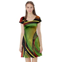 Multicolored Abstract Print Short Sleeve Skater Dress