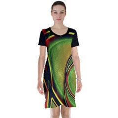 Multicolored Abstract Print Short Sleeve Nightdress