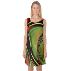 Multicolored Abstract Print Sleeveless Satin Nightdress