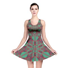 Green tribal star Reversible Skater Dress