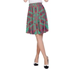 Green Tribal Star A Line Skirt