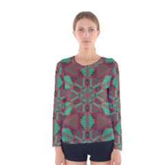 Green tribal star Women Long Sleeve T-shirt