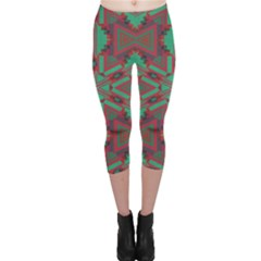 Green Tribal Star Capri Leggings