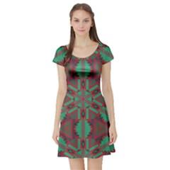 Green tribal star Short Sleeve Skater Dress