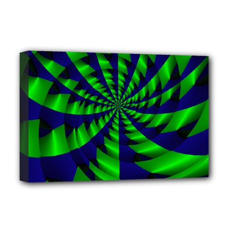 Green Blue Spiral Deluxe Canvas 18  X 12  (stretched)