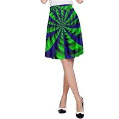Green blue spiral A-line Skirt