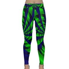 Green Blue Spiral Yoga Leggings