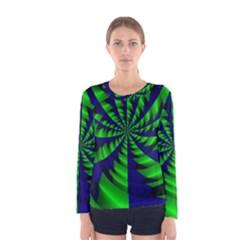 Green Blue Spiral Women Long Sleeve T Shirt