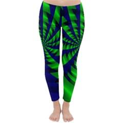 Green Blue Spiral Winter Leggings