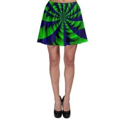Green Blue Spiral Skater Skirt