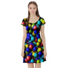 Colorful balls Short Sleeve Skater Dress