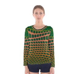 Distorted Rectangles Women Long Sleeve T Shirt