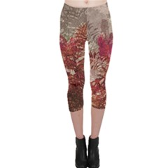 Floral Print Collage  Capri Leggings