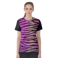 Hot Pink Black Tiger Pattern  Women s Cotton Tee
