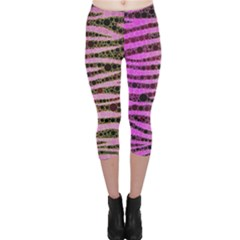 Hot Pink Black Tiger Pattern  Capri Leggings