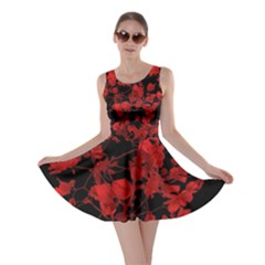 Dark Red Floral Print Skater Dress