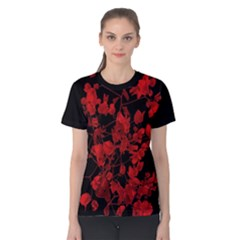 Dark Red Floral Print Women s Cotton Tee