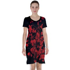 Dark Red Floral Print Short Sleeve Nightdress