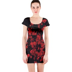 Dark Red Floral Print Short Sleeve Bodycon Dress