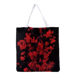 Dark Red Flower Grocery Tote Bag