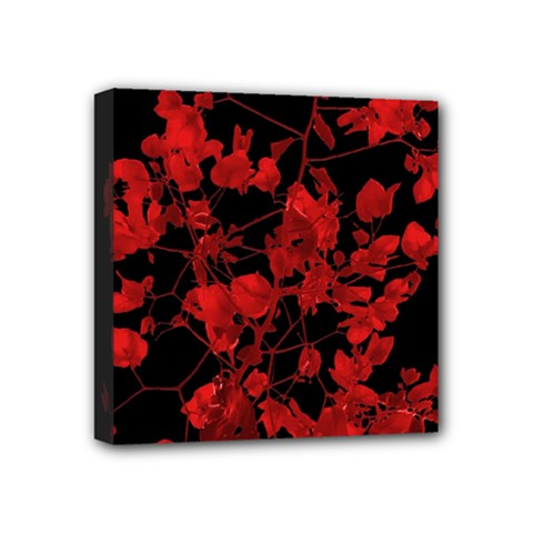 Dark Red Flower Mini Canvas 4  X 4  (framed)