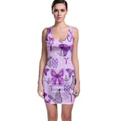 Purple Awareness Butterflies Bodycon Dress